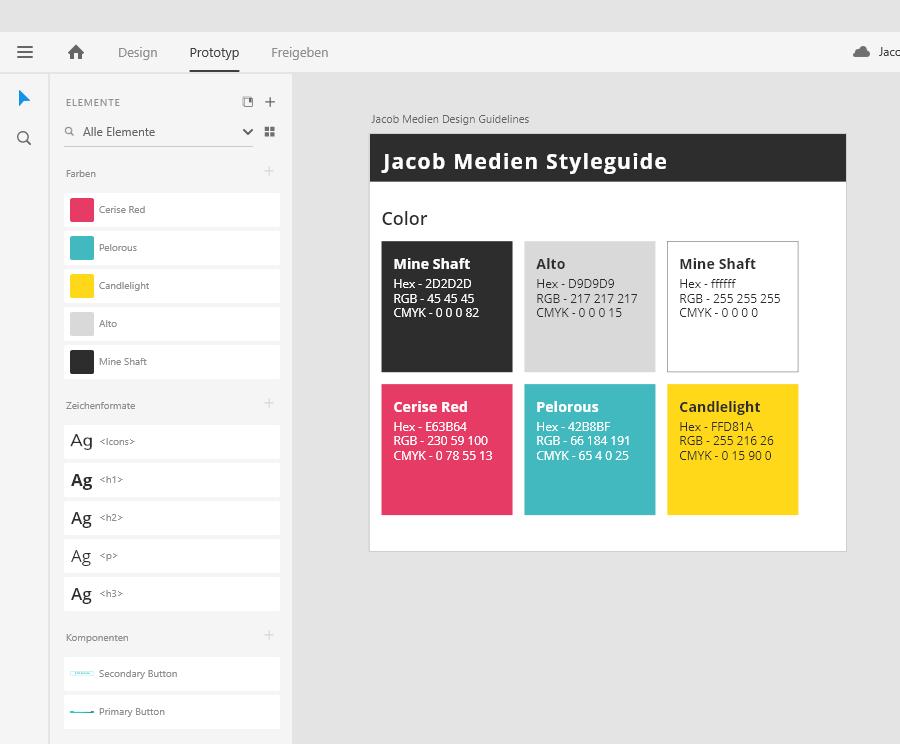 """In Adobe XD lassen sich Farben, Schriften und """"Komponenten"""" (Wiederkehrende Elemente wie z.B. Logos) speichern"""