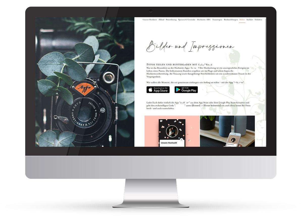 Website einer Website für die Kommunikation mit Hochzeitsgästen für ein Brautpaar.