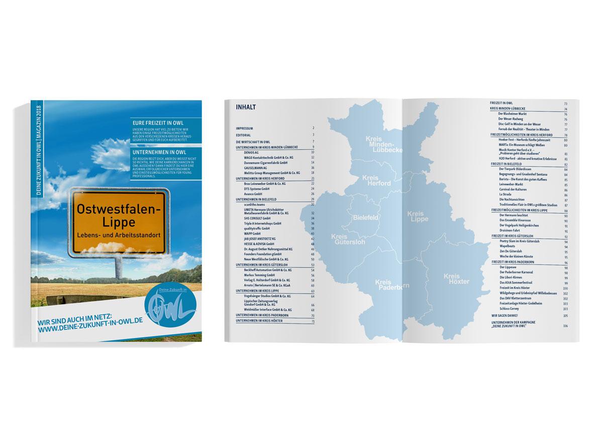 Deine Zukunft in OWL ist ein einmalige Erarbeitung einer Broschüre für Young Professionals in Ostwestfalen-Lippe.